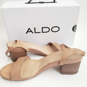 Aldo leather shoes strap block heels tan size 7.5
